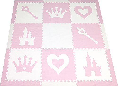SoftTiles Kids Foam Playmat | Princess Theme | Non-Toxic Interlocking Floor Tiles for Girls' Playrooms & Baby Nursery | Light Pink and White (6.5' x 6.5') SCPRIWC by SoftTiles