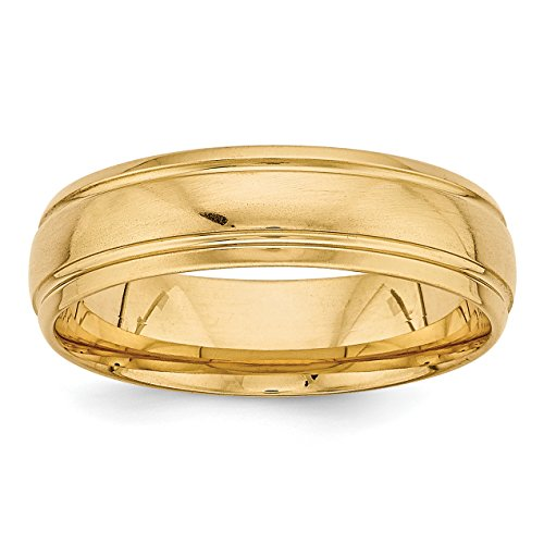 Comfort Fit Fancy Wedding Band - 14k Yellow Gold Heavy Comfort Fit Fancy Wedding Band Size 12