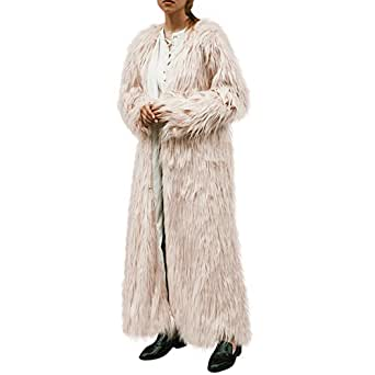 Women's Winter Elegant Warm Long Faux Fur Jacket Coat Outwear