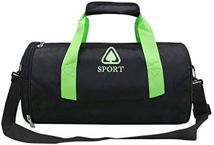 Faleto Mode impermeable bolsa de deporte con compartimento para zapatillas equipaje de mano bolso Gym Weekender Bolsa de viaje para hombre y mujer, 42 x 23 x 23 cm, color negro, negro-verde: