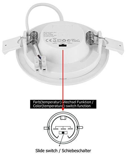 3000K 4000K 6000K 122x35mm flach Trafo integriert LED 6in1 CCT Slim Panel Downlight 9W IP44 rund