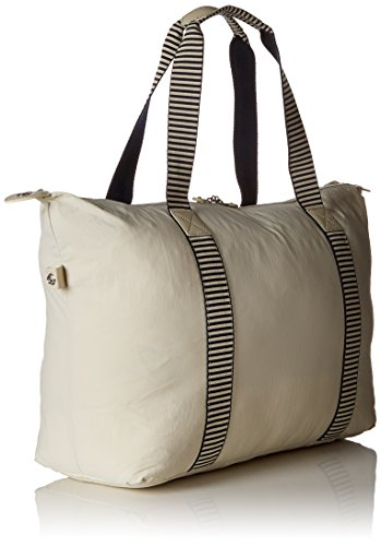 33 M Bolsa 58 Striped Blanco y Canvas Kipling FOLD Print ART playa tela colores White de cm liters Varios 5f6tvq