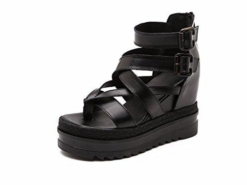Tacones Mujer Cama black Fondo KPHY Zapatos Ropa Grueso De De Verano De Los Sandalias Dedos Pies De Muffins Roma Pendiente De Los qZ7BZ