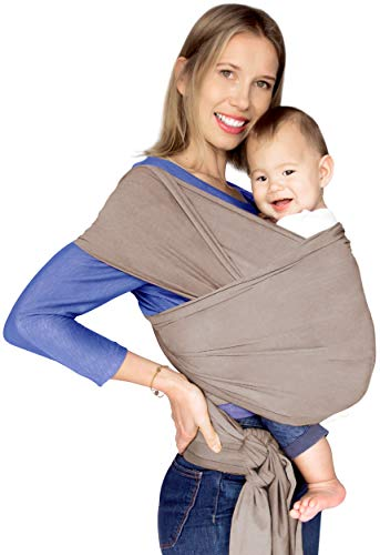 Baby Wrap Carrier, Grey by MUMMA All Natural for Newborn Infant Reversible with Pocket Luxury Velvety Finish Breathable Peruvian Cotton – Hands Free Stretchy Style Elephant Grey
