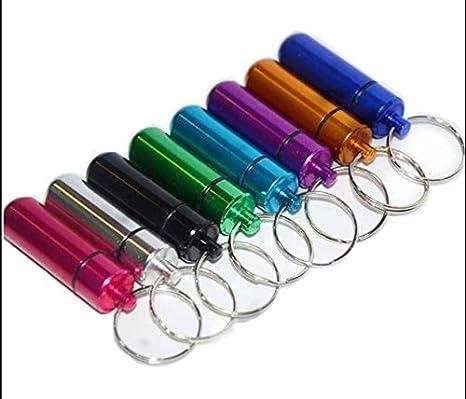 Cartucho pequeño cartucho de aleación de aluminio para exteriores frasco de medicina llavero llavero cartucho redondo de primeros auxilios botella de ...