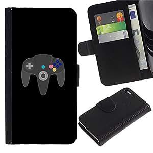 Apple iPhone 4 / iPhone 4S , la tarjeta de Crédito Slots PU Funda de cuero Monedero caso cubierta de piel (Gaming Forever N64)