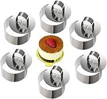 ONEDONE mousse Anneaux en acier inoxydable gâteau Cercle Moule à Cake avec poussoir, 8 cm de diamètre, Lot de 6 Round