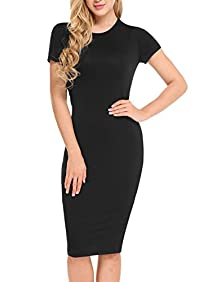 HOTOUCH Women's Basic Bodycon Solid Slim Fit Short Sleeve O-Neck Midi Dress
