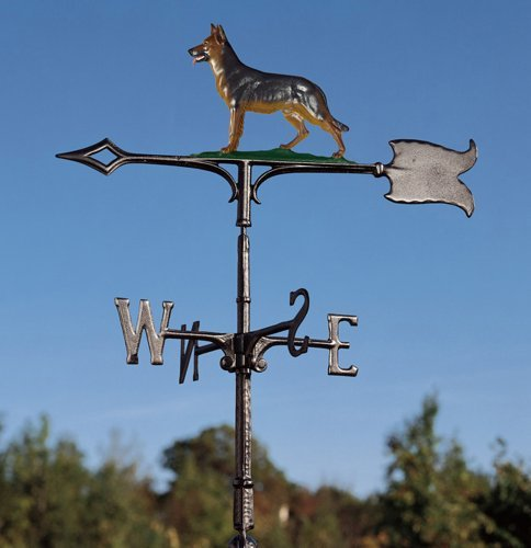 Whitehall Products Traditional Directions - Whitehall Products German Shepherd Weathervane, 30-Inch, Rooftop Color
