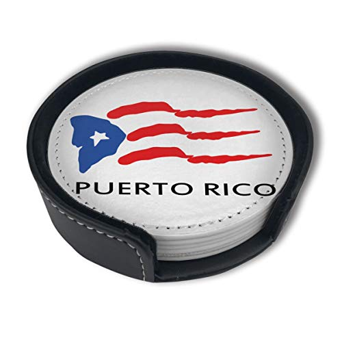 CZZD Puerto Rico Flag Tribal Luxury Coasters Protect Furniture from Water Marks Scratch and Damage,Suitable for All Kinds of Cups,Set of 6 (Rico Living Furniture Puerto)