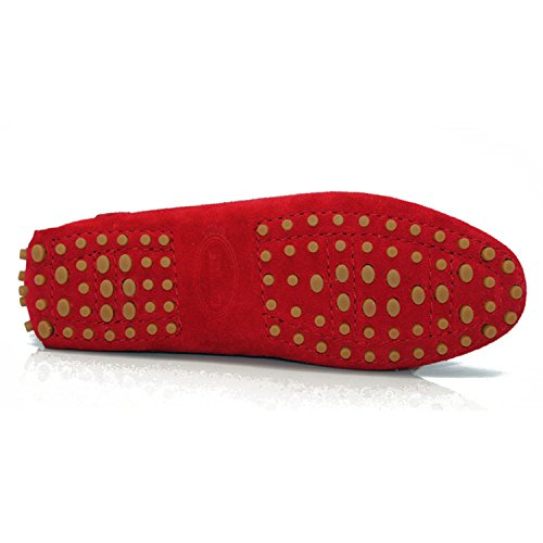Minishion Tyb9602 Donna Mocassini Casual In Pelle Scamosciata Scarpe Da Guida Penny Mocassini Appartamenti Rosso Scuro