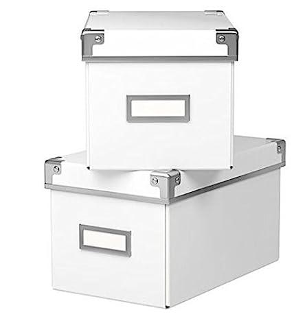 Ikea Cajas KASSETT para almacenar CDs para librerías BILLY (Pack de 2)