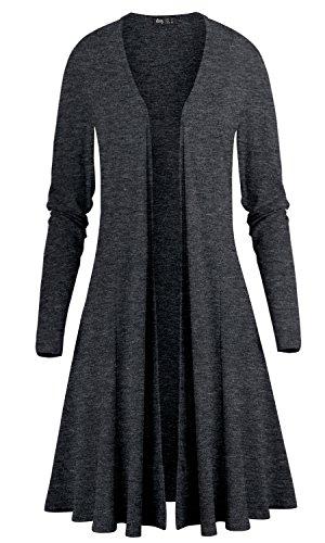 Jersey V-neck Cardigan - ililily Women V-Neck Open Front Stretch Jersey Cardigan Maxi Drape Hem Jacket, Dark Grey, US-Small