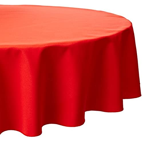 LinenTablecloth 70 Inch Round Polyester Tablecloth Red