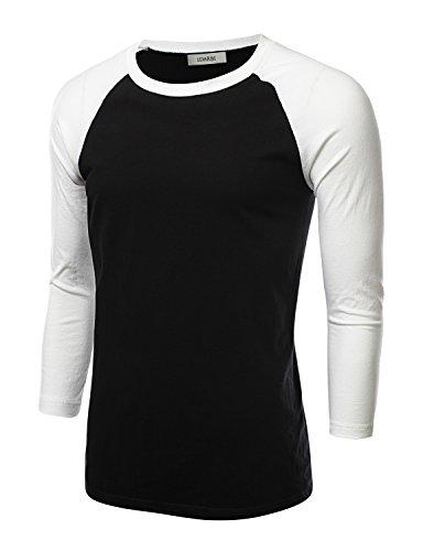 (IDARBI Mens Crew Neck 3/4 Sleeve Raglan Baseball T-Shirt BLACKWHITE S)