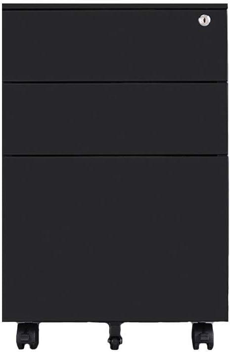 オフィス縦型ファイルキャビネット 盗難防止ロック付きの大容量プッシュプル引き出しモバイル鉄ファイルキャビネット完全に組み立てられた、多層引き出し 事務用家具 (色 : ブラック, サイズ : 50x39x60cm)