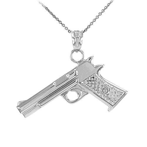 Collier Femme Pendentif Solide 14 Ct Or Blanc Désert Aigle Pistolet Canon (Livré avec une 45cm Chaîne)