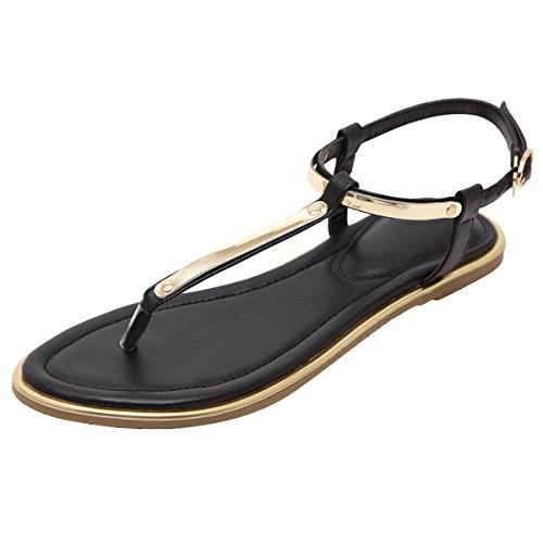 VFDB Slingback Flat Thong Sandals Summer Beach T-Strap Flip Flops Black US 8.5 (Cute Sandals Adult)
