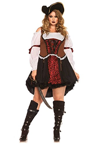 [Leg Avenue Women's Plus-Size Ruthless Pirate Wench Costume, Multi, 1X] (Halloween Pirate Woman Costumes)