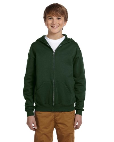 Jerzees Youth Nublend Full-Zip Hooded Sweatshirt, Frst Green, Medium by Jerzees