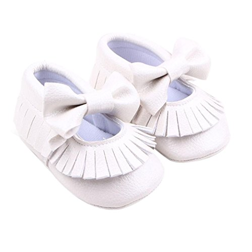 [FEITONG Toddler Baby Girls' Crib Bowknot Shoes Casual Shoes (Age:12~18 Month, White)] (Baby Easter Dresses)