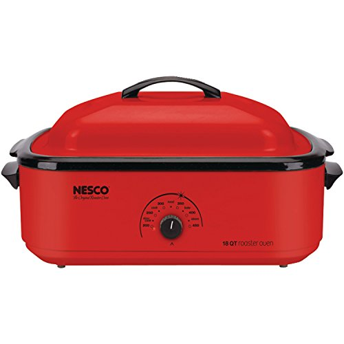 Nesco 4818-12 Classic Roaster Oven with Porcelain Cookwell, 18-Quart, Red (Cover Serve Gourmet)