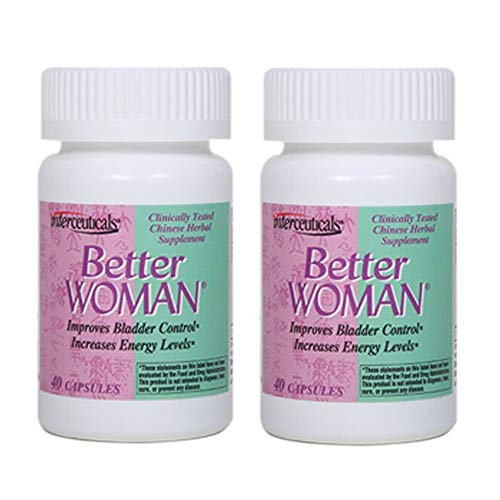BetterWOMAN Bladder Control Supplement for Women- Helps to Reduce Bathroom Trips - Sleep Better at Night -Reduce Urgency and Occasional Leakage* - interceuticals (2 Bottles)
