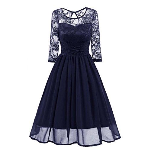 Janly Vintage Kleider Frau Eleganter Spitze Patchwork Lang Damen ...