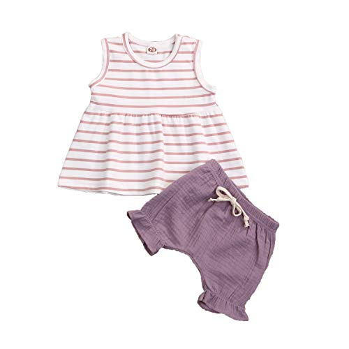 Toddler Baby Girl Outfit Sleeveless Stripe T-Shirt Tank Top + Ruffle Shorts Clothes Set (Purple, 12-18 M)