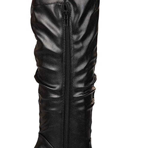 AgooLar Women's High Heels Solid Round Closed Toe Zipper Boots Black nBY0xsTwQ