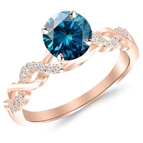 (1.13 Carat 14K Rose Gold Twisting Infinity Gold and Diamond Split Shank Pave Set Diamond Engagement Ring with a 1 Carat Blue Diamond Center (Heirloom)