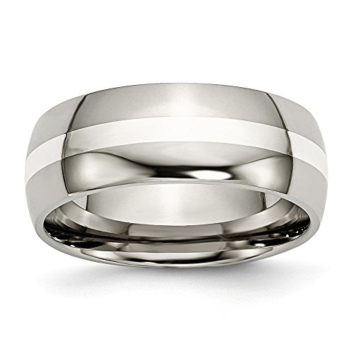 ICE CARATS Titanium 925 Sterling Silver Inlay 8mm Wedding Ring Band Size 14.00 Precious Metal Fine Jewelry Gifts for Women for Her