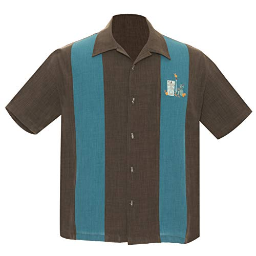 Steady Clothing Men's The Mickey Button Up Bowling Shirt Coffee Teal M