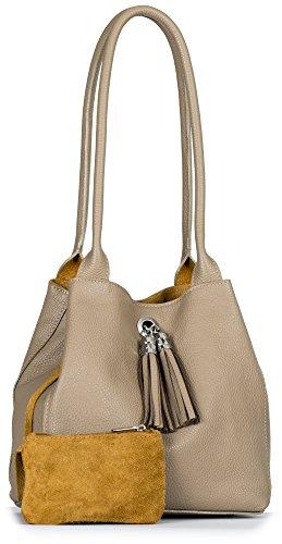 LiaTalia - Piccola borsa reversibile in morbida vera pelle scamosciata - ELLA Talpa Marrone & Caramello
