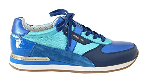 Dolce & Gabbana Blue Leather Mens Casual Sneakers