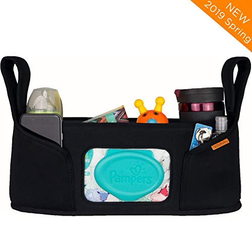 liuliuby Stroller Organizer - Large Storage Space with Easy Access Wipe Pocket and Customizable Compartments - Universal Fit, Includes Bonus Reusable Wipe Pouch! 2019 New Launch