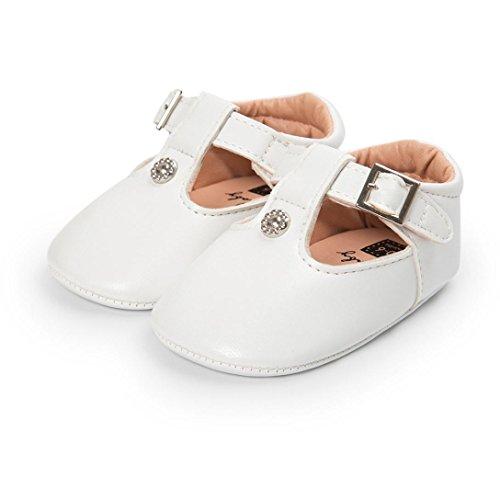 ❆Huhu833 Kinder Mode Baby Schuhe Soft Sole, Baby Kleinkind Leder Sole einzelne Schuhe beiläufige flache Schuhe (0~18 Month) Weiß