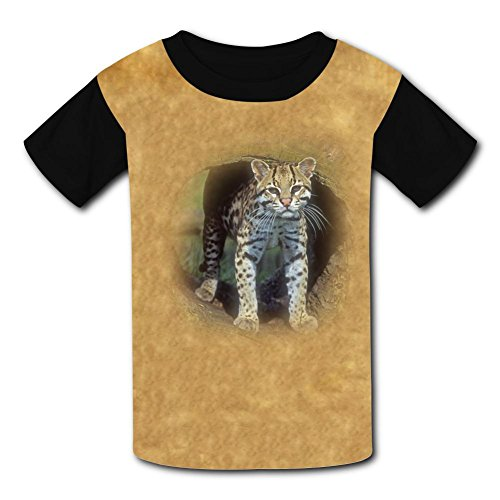 wdwiDEF2287 Funny Ocelot Leopardus pardalis Kids Tee T-Shirt Round Neck Costume M