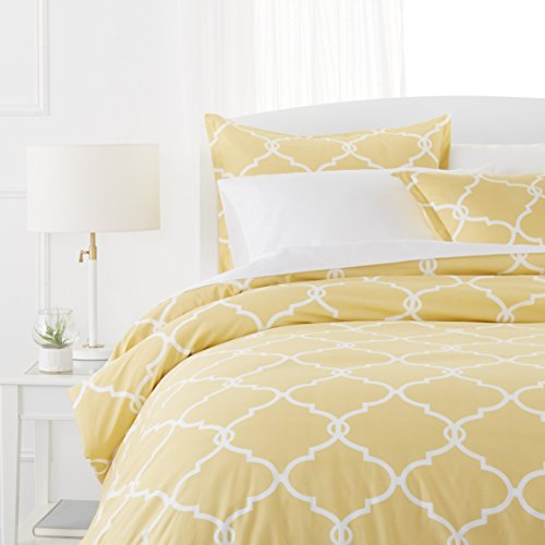 Pinzon 300-Thread-Count Cotton Percale Duvet Cover Set, Full/Queen, Straw