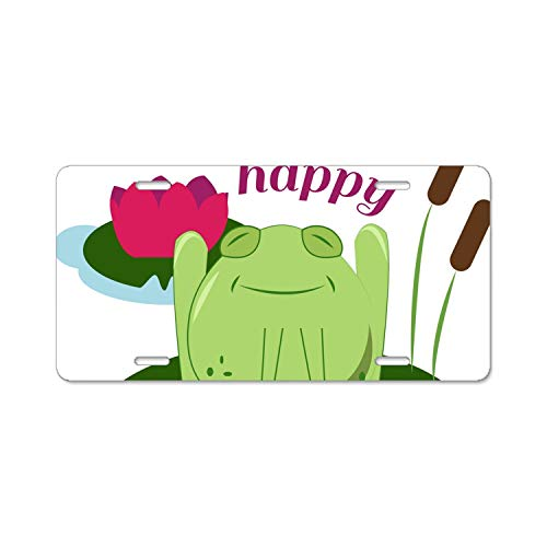 Hip Hop Happy Frog License Plate Frames Aluminum Metal & Screw Kits Fine Slim Standard Size for US Ca
