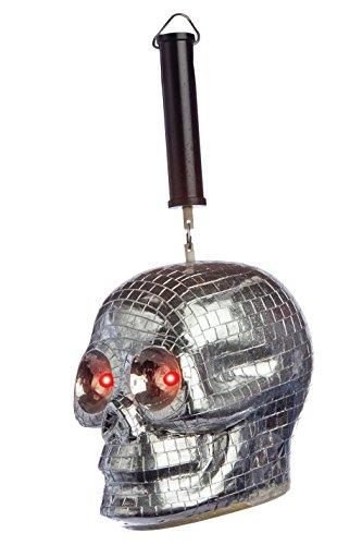 Morbid Enterprises Skull Disco Ball, Silver/Black/Red, One ()
