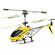 New Syma 3 Channel S107 Mini Indoor Co-Axial Metal Body Frame & Built-in Gyroscope RC Remote Controlled Helicopter Yellow
