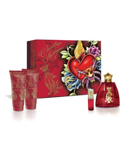 Christian Audigier for Women Fragrance Sets 3.4 oz. Eau De Parfum Spray, a 3.4 oz. Shimmering Body Lotion, a 3 oz. Bath Shower Gel and a .25 oz. Eau De Parfum Spray mini.