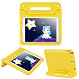 HDE Case for iPad 9.7 inch 2018 / 2017 Kids Shock Proof Bumper Cover Stand with Handle for New 6th Gen Apple Education iPad (Integrated Apple Pencil Holder) and 5th Generation iPad 9.7' - Yellow