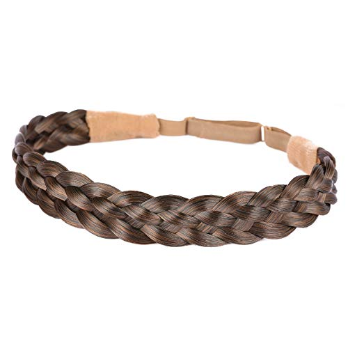 Vigour Fashion Womens Wedding Bohemian Women Headband Braided Hair Plaited Hair Braid Headbands Hairpiece Synthetic Headbands #2/30 Brown Mix Light Brown Color
