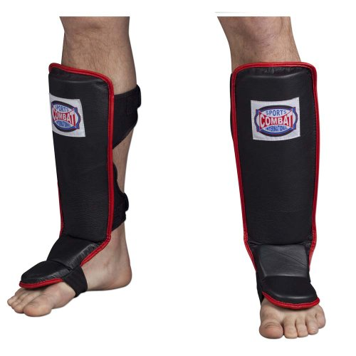 Combat Sports Hook & Loop MMA Shin Guards (Red, Large)