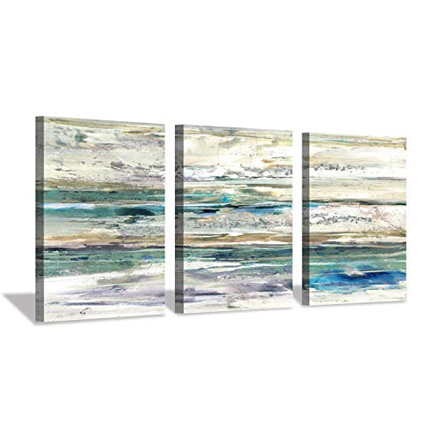 Abstract Seascape Canvas Painting Artwork: Coastal Wall Art Print on Canvas for Office (16'' x 12'' x 3 ()