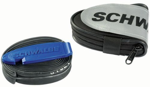 Schwalbe Race Saddle Bag Complete with SV15 Inner Tube and 2 Tyre Levers Saddle Bag - Black/Silver, 12 cm