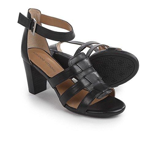 Slingback Vittadini Leder Black Adrienne Leger Sandalen Zeh Frauen Belinda Offener 0HOw4qTR