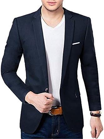 BREGEO Men's Cotton Casual Blazer Men's Suits & Blazers at amazon